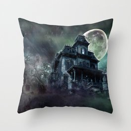 The Haunted House Throw Pillow