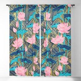 Art Deco Lotus Flowers in Pink & Navy Blackout Curtain
