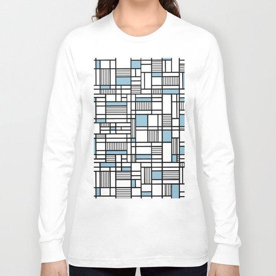 Map Lines Sky Blue Long Sleeve T-shirt