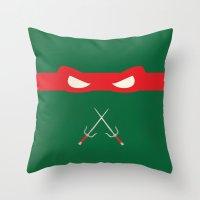 ninja turtles Throw Pillows featuring Red Ninja Turtles Raphael by 1986
