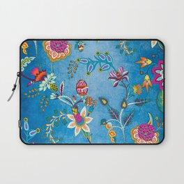 Blue Lapis Velvet Texture Chintz Multicolour Bohemian Floral Pattern Laptop Sleeve