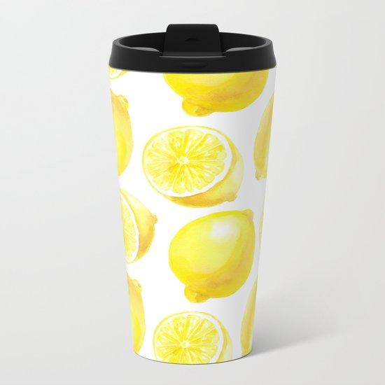 Lemons pattern design Metal Travel Mug