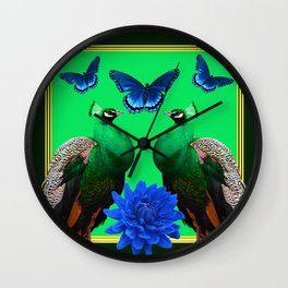 BLUE BUTTERFLIES & GREEN PEACOCKS FLORAL Wall Clock