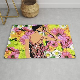 LUNA SPRING TIME BEAUTY WOMAN FLOWER CHILD Rug