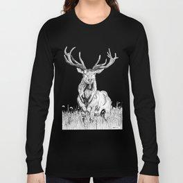 Deer in grass illustration / BW Long Sleeve T-shirt