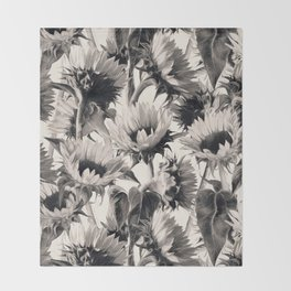 Sunflowers in Soft Sepia Throw Blanket