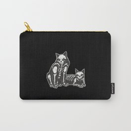 Two scary skull Cats freaky cat cartoon Carry-All Pouch
