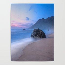 Ocean Tides - Mist Rolls in At Sunset in Big Sur Poster