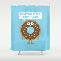 pun Shower Curtains featuring It's Not All Rainbow Sprinkles... by David Olenick