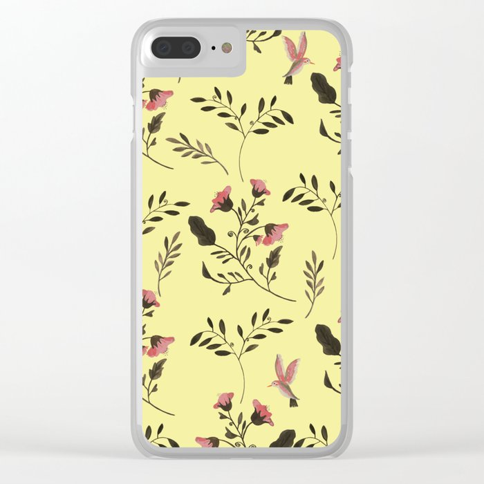 Rose Hummingbirds and Pink Flowers in Butter Yellow Floral Pattern with Pink Flowers and Bark Brown Clear iPhone Case