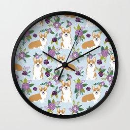 Corgi Floral Print - blue, purple, floral, spring, girls feminine corgi dog Wall Clock