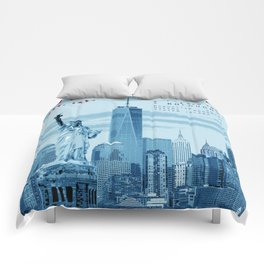 NYC Poster Print [Red, White & Blue] Comforters
