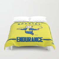 fallout Duvet Covers featuring Endurance S.P.E.C.I.A.L. Fallout 4 by sgrunfo