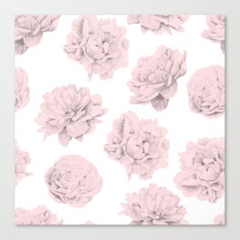Simply Roses in Pink Flamingo Pink on White Canvas Print