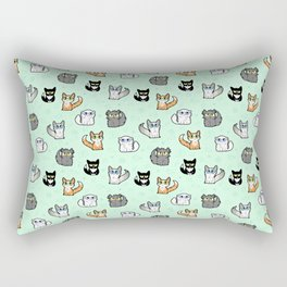 House Cats - Cartoon Pattern Green Rectangular Pillow