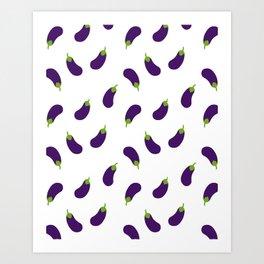 EGGPLANT AUBERGINE VEGGIE FOOD PATTERN Art Print