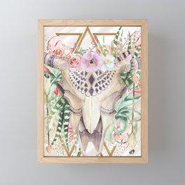 Skull boho and triangles Framed Mini Art Print