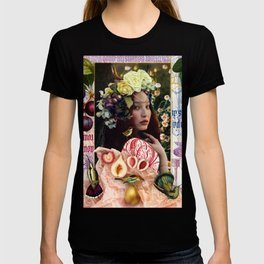 Floral Glitter Horned Headdress with Pearls T-shirt