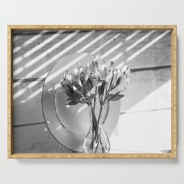 Bouquet and Plate-BW Serving Tray