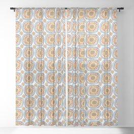 Retro Round Tiles Mexico Daisy White Sheer Curtain