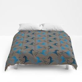 Blue Brown War Horse Comforters