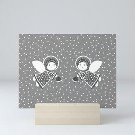 Angels on the gray Mini Art Print
