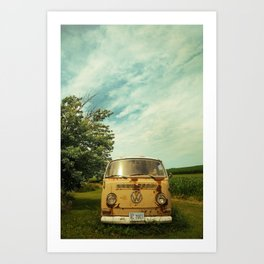 yellow bus Art Print