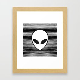 Alien on Black and White stripes Framed Art Print