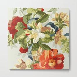 Vintage Floral Fabric Digital Vector Art Painting Metal Print