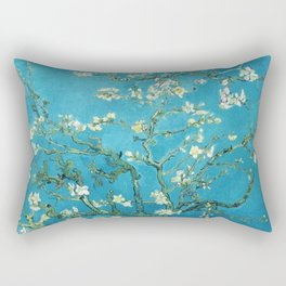 Vincent van Gogh Blossoming Almond Tree (Almond Blossoms) Light Blue Rectangular Pillow