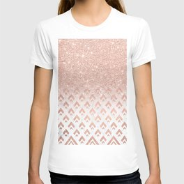 Faux rose gold glitter ombre rose gold foil triangles chevron geometric on white marble T-shirt