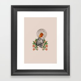 Collage - The red bird Framed Art Print