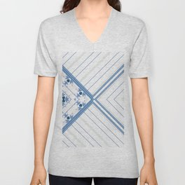 Decorative Multi Pattern Soft Blue Design Unisex V-Neck
