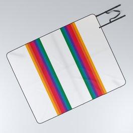 Retro Bright Rainbow - Straight Picnic Blanket