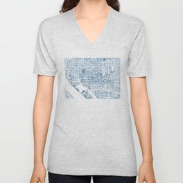 Washington DC Blueprint watercolor map Unisex V-Neck