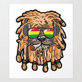 RASTA LION Joint Smoking Weed 420 Ganja Pot Hash Art Print