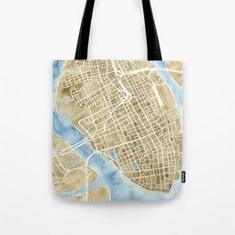 Charleston, South Carolina City Map Art Print Tote Bag