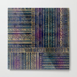 Tribal Ethnic pattern gold on painted texture Metal Print