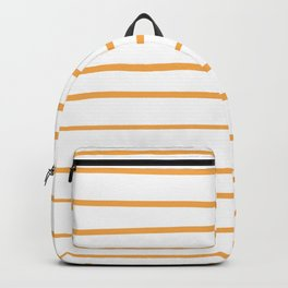 VA Bright Marigold - Spring Squash - Pure Joy - Just Ducky Hand Drawn Horizontal Lines on White Backpack