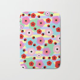 Poppies and stripes Bath Mat