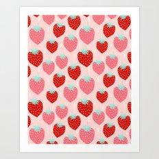 strawberries print pattern modern bright happy fun fruit berry summer fresh happy design gardener Art Print