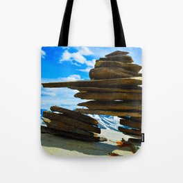 Inukshuk on Whistlers Mt in Jasper National Park, Canada Tote Bag