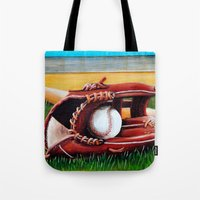 baseball Tote Bags featuring Baseball by A Calcines