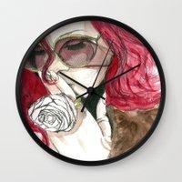 rihanna Wall Clocks featuring Rihanna by Dee Andrews