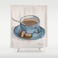 macaroons Shower Curtains featuring Coffee and Macaroons Blue by Bryan McKinney