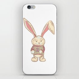 Christmas cute hare. Winter design illustration iPhone Skin