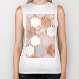 Mixed rose gold pinks and marble geometric Biker Tank