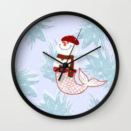 Snowman Mermaid Wall Clock