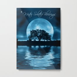 Winter Solstice Blessings Cards with Oak Tree, Moon and Water Metal Print