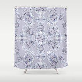 Full Kaleido Pale Blue Wildflowers Shower Curtain